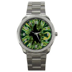 Burning Ship Fractal Silver Green Hole Black Sport Metal Watch by Mariart