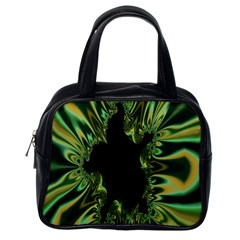Burning Ship Fractal Silver Green Hole Black Classic Handbags (one Side) by Mariart