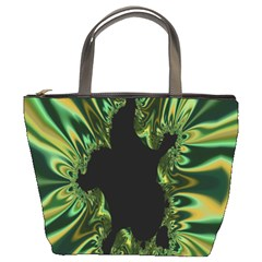 Burning Ship Fractal Silver Green Hole Black Bucket Bags by Mariart