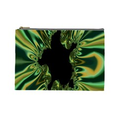 Burning Ship Fractal Silver Green Hole Black Cosmetic Bag (large)  by Mariart