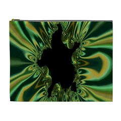 Burning Ship Fractal Silver Green Hole Black Cosmetic Bag (xl) by Mariart