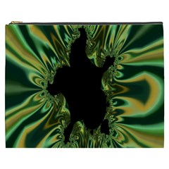 Burning Ship Fractal Silver Green Hole Black Cosmetic Bag (xxxl)  by Mariart