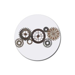 Hour Time Iron Rubber Coaster (round)  by Mariart