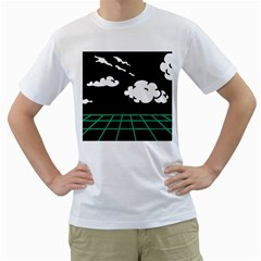 Illustration Cloud Line White Green Black Spot Polka Men s T Shirt (white) (two Sided) by Mariart