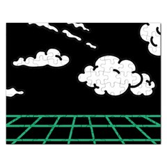 Illustration Cloud Line White Green Black Spot Polka Rectangular Jigsaw Puzzl by Mariart