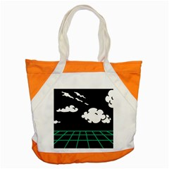 Illustration Cloud Line White Green Black Spot Polka Accent Tote Bag