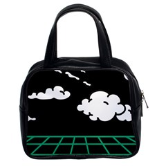 Illustration Cloud Line White Green Black Spot Polka Classic Handbags (2 Sides) by Mariart
