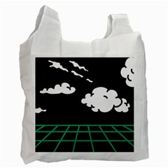 Illustration Cloud Line White Green Black Spot Polka Recycle Bag (one Side) by Mariart