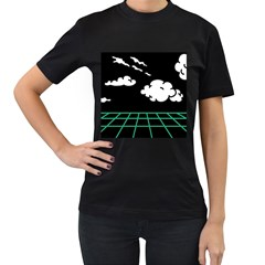 Illustration Cloud Line White Green Black Spot Polka Women s T-shirt (black) by Mariart