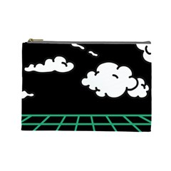 Illustration Cloud Line White Green Black Spot Polka Cosmetic Bag (large)  by Mariart