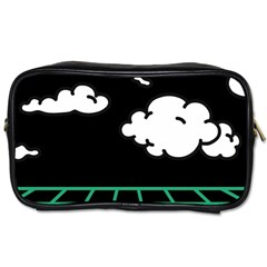 Illustration Cloud Line White Green Black Spot Polka Toiletries Bags by Mariart