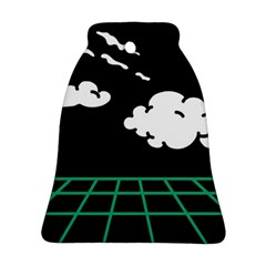 Illustration Cloud Line White Green Black Spot Polka Bell Ornament (two Sides) by Mariart