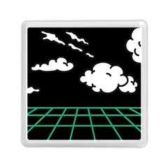 Illustration Cloud Line White Green Black Spot Polka Memory Card Reader (square)  by Mariart
