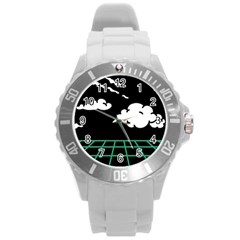 Illustration Cloud Line White Green Black Spot Polka Round Plastic Sport Watch (l) by Mariart