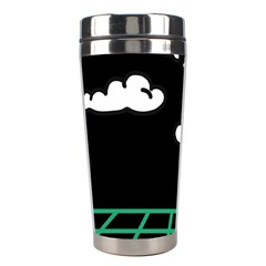 Illustration Cloud Line White Green Black Spot Polka Stainless Steel Travel Tumblers by Mariart