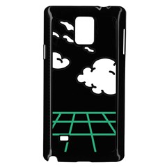 Illustration Cloud Line White Green Black Spot Polka Samsung Galaxy Note 4 Case (black) by Mariart
