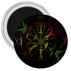 Inner Peace Star Space Rainbow 3  Magnets by Mariart