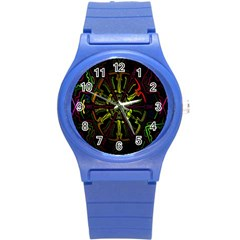 Inner Peace Star Space Rainbow Round Plastic Sport Watch (s) by Mariart