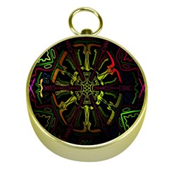 Inner Peace Star Space Rainbow Gold Compasses by Mariart