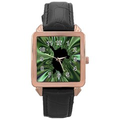 Hole Space Silver Black Rose Gold Leather Watch  by Mariart