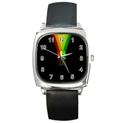 Lamp Colors Green Yellow Red Black Square Metal Watch by Mariart