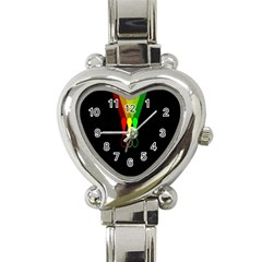 Lamp Colors Green Yellow Red Black Heart Italian Charm Watch by Mariart