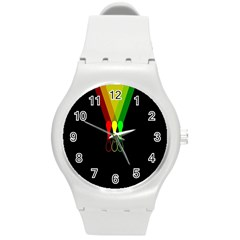 Lamp Colors Green Yellow Red Black Round Plastic Sport Watch (m) by Mariart