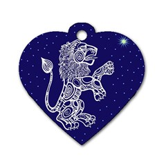 Leo Zodiac Star Dog Tag Heart (two Sides) by Mariart