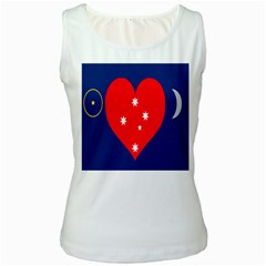 Love Heart Star Circle Polka Moon Red Blue White Women s White Tank Top by Mariart