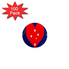 Love Heart Star Circle Polka Moon Red Blue White 1  Mini Magnets (100 Pack)  by Mariart