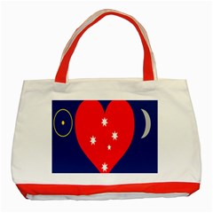 Love Heart Star Circle Polka Moon Red Blue White Classic Tote Bag (red) by Mariart
