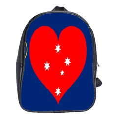 Love Heart Star Circle Polka Moon Red Blue White School Bags(large)