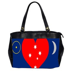 Love Heart Star Circle Polka Moon Red Blue White Office Handbags (2 Sides)  by Mariart