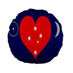 Love Heart Star Circle Polka Moon Red Blue White Standard 15  Premium Flano Round Cushions Back