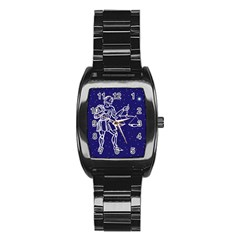 Libra Zodiac Star Stainless Steel Barrel Watch by Mariart