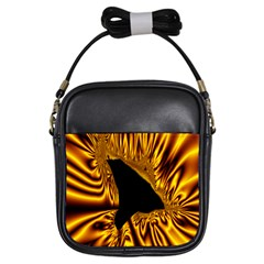 Hole Gold Black Space Girls Sling Bags by Mariart