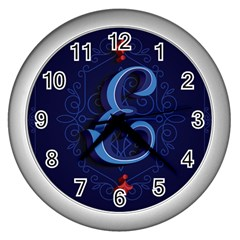 Marquis Love Dope Lettering Blue Red Alphabet E Wall Clocks (silver)  by Mariart
