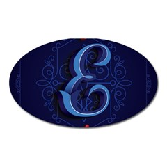 Marquis Love Dope Lettering Blue Red Alphabet E Oval Magnet