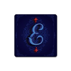 Marquis Love Dope Lettering Blue Red Alphabet E Square Magnet by Mariart