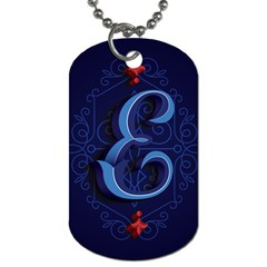 Marquis Love Dope Lettering Blue Red Alphabet E Dog Tag (two Sides) by Mariart