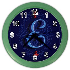 Marquis Love Dope Lettering Blue Red Alphabet E Color Wall Clocks by Mariart