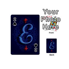 Marquis Love Dope Lettering Blue Red Alphabet E Playing Cards 54 (mini)  by Mariart