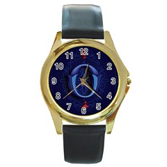 Marquis Love Dope Lettering Blue Red Alphabet O Round Gold Metal Watch by Mariart
