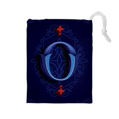 Marquis Love Dope Lettering Blue Red Alphabet O Drawstring Pouches (large)  by Mariart