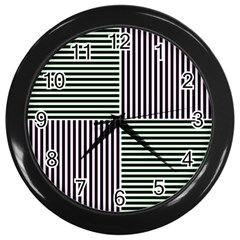 Mccollough Test Image Colour Effec Line Wall Clocks (black) by Mariart
