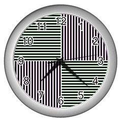 Mccollough Test Image Colour Effec Line Wall Clocks (silver)  by Mariart