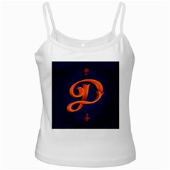 Marquis Love Dope Lettering Blue Red Orange Alphabet P White Spaghetti Tank by Mariart