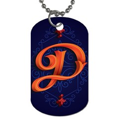 Marquis Love Dope Lettering Blue Red Orange Alphabet P Dog Tag (one Side) by Mariart