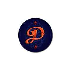 Marquis Love Dope Lettering Blue Red Orange Alphabet P Golf Ball Marker by Mariart