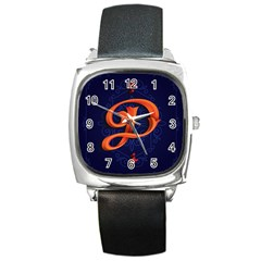 Marquis Love Dope Lettering Blue Red Orange Alphabet P Square Metal Watch by Mariart